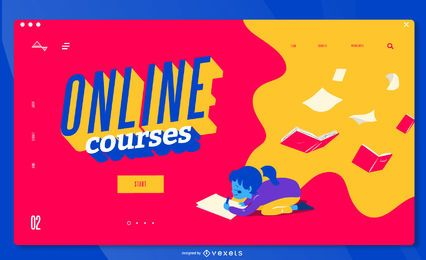 Plantilla de página de destino para niños de cursos en línea