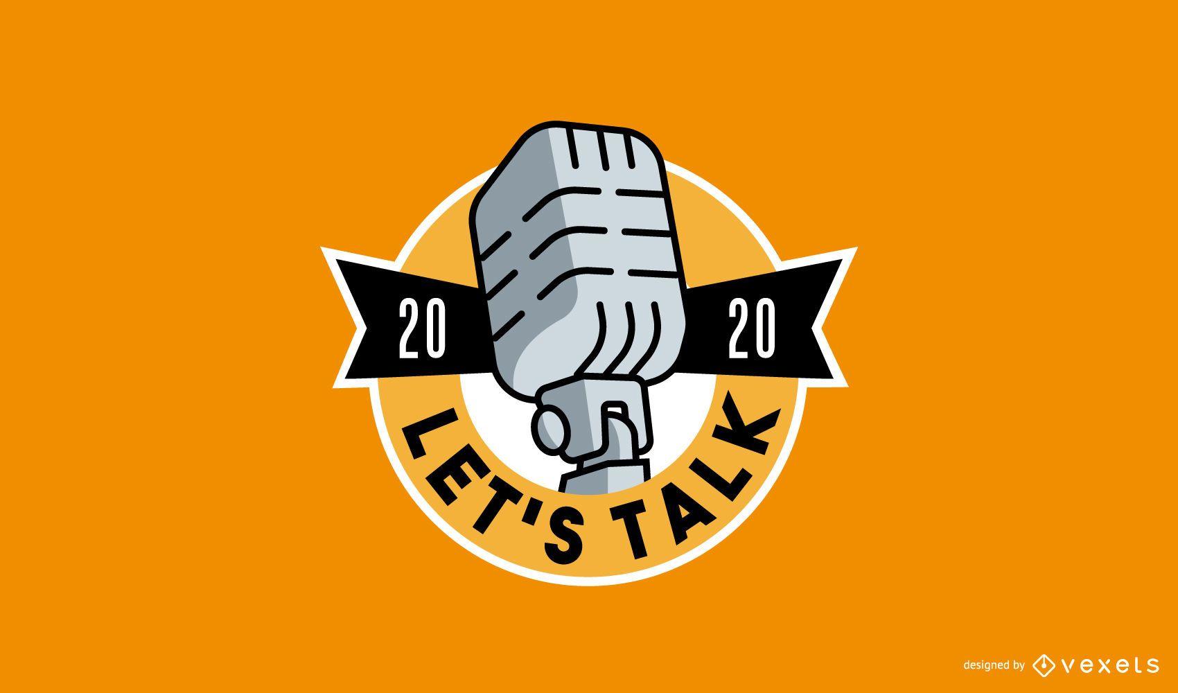 Logotipo de podcast de estilo retro