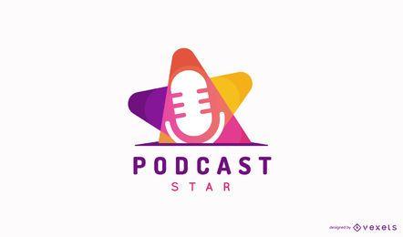 Diseño de logotipo podcast colorido plano