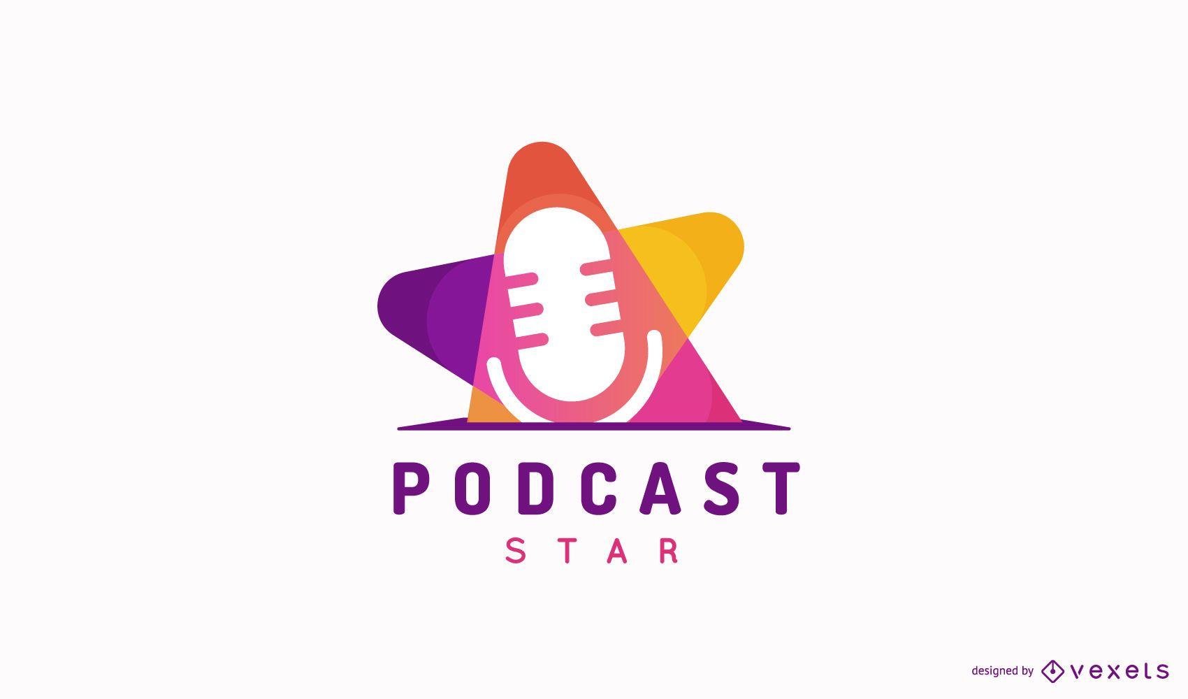Design de logotipo de podcast colorido plano