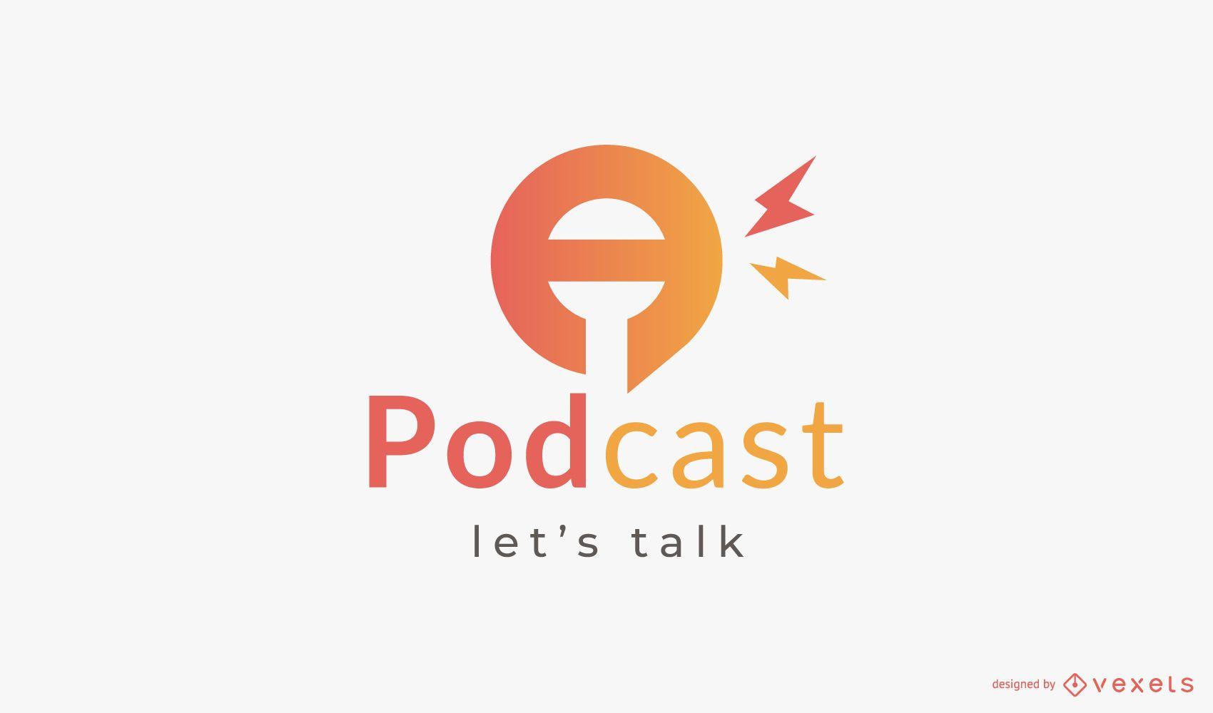 Diseño de logotipo de podcast de micrófono degradado