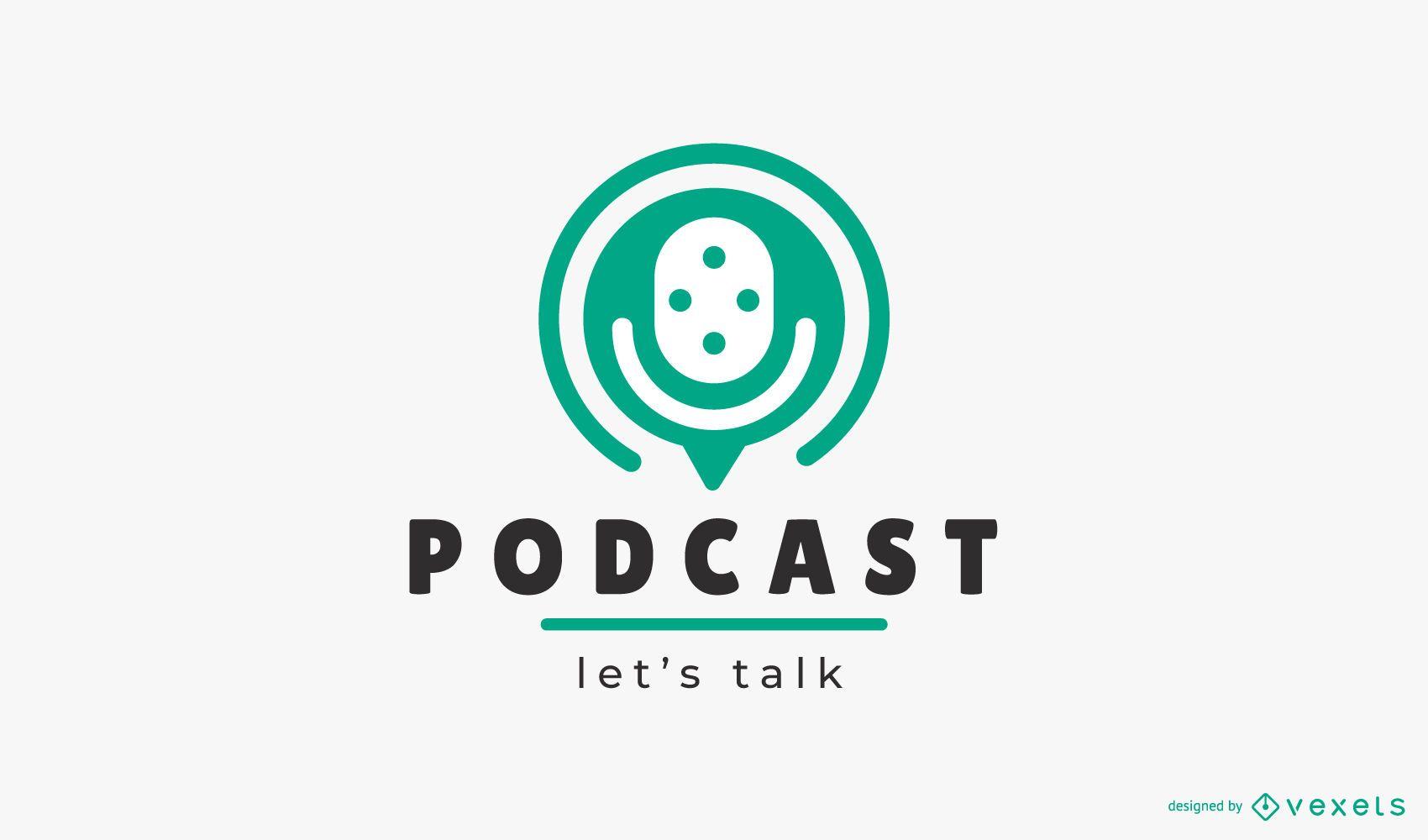 Podcast hablemos plantilla de logotipo