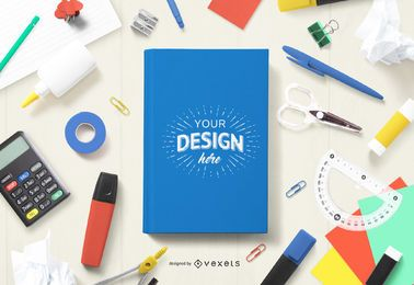 Book cover school mockup composition