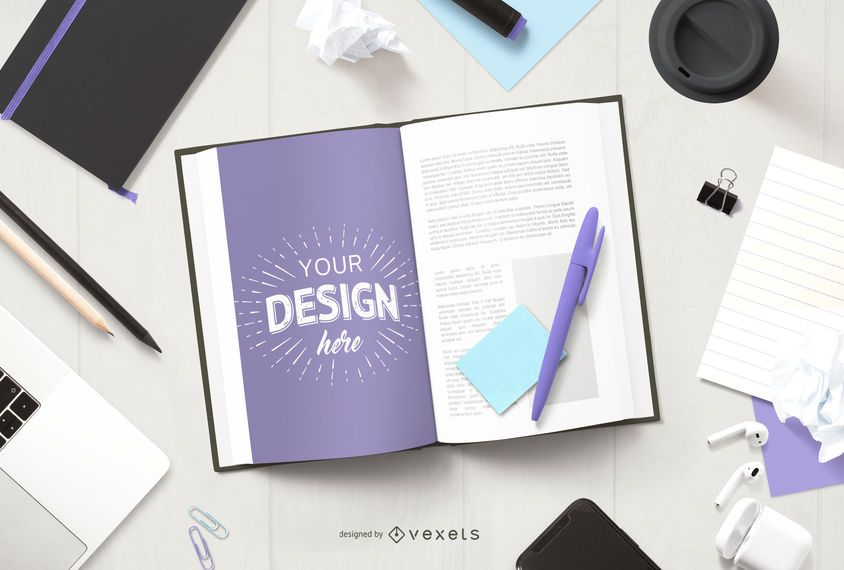 Open book education mockup composition