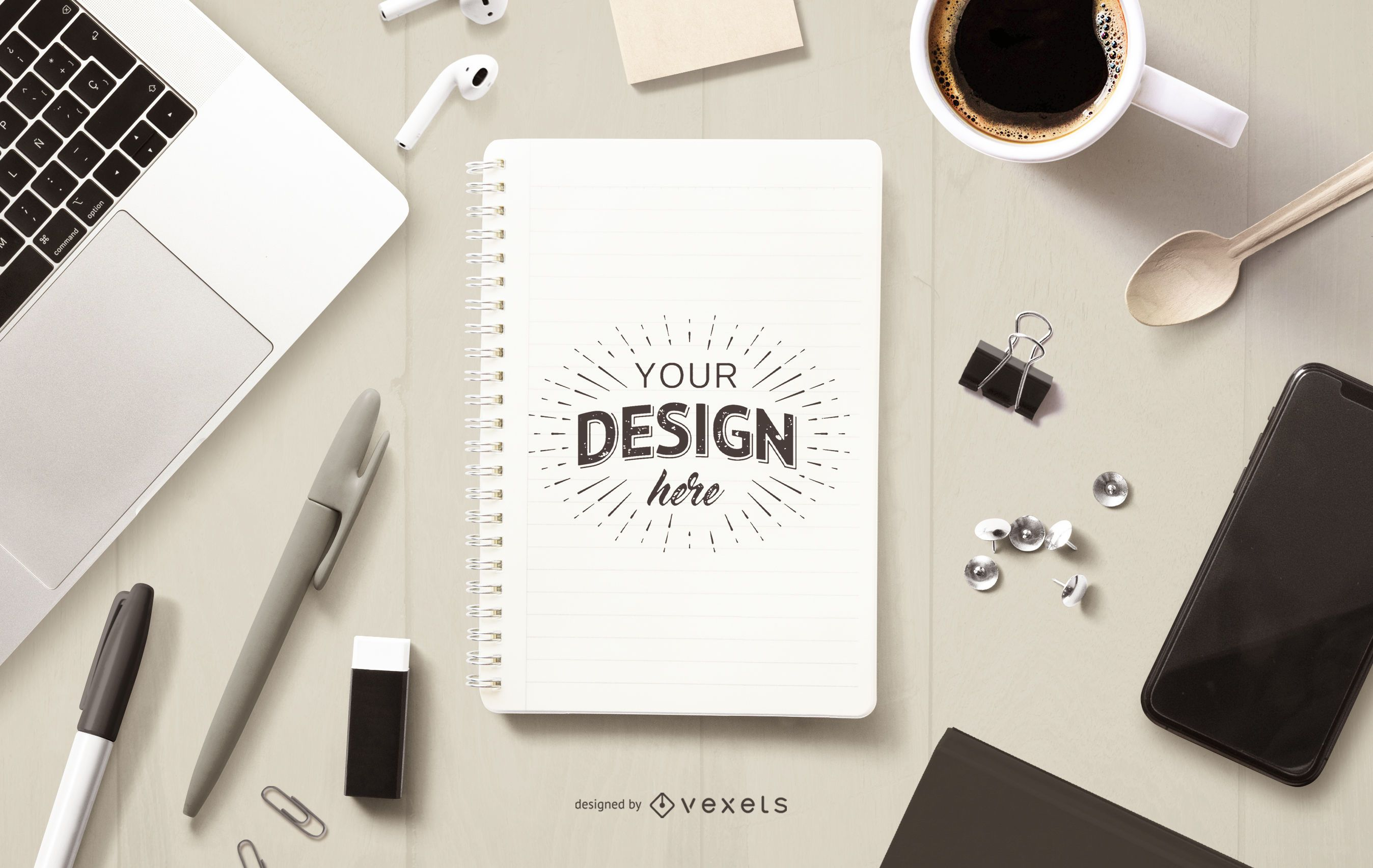 Education notebook mockup composition