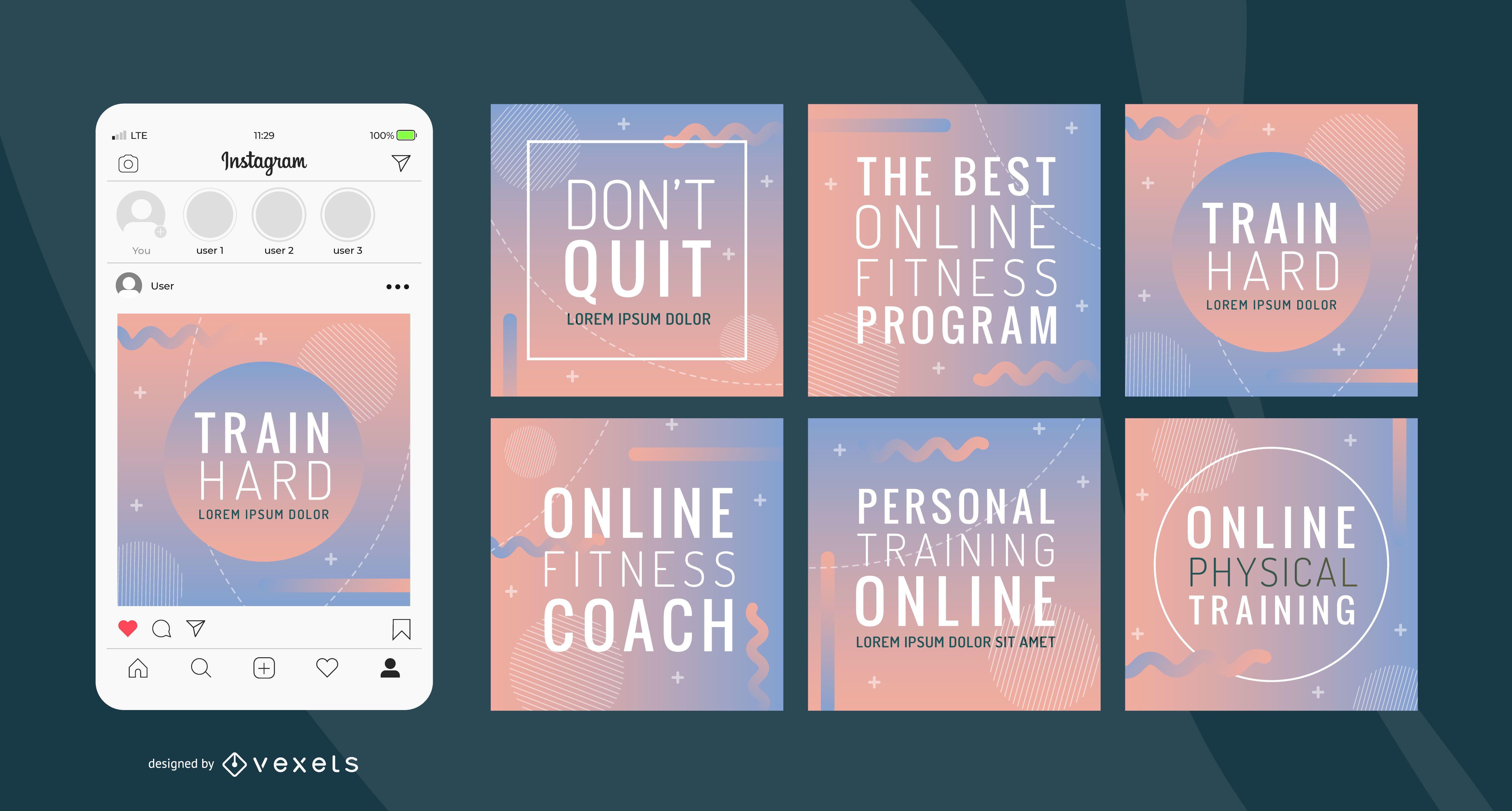Paquete de banner degradado de entrenamiento en línea