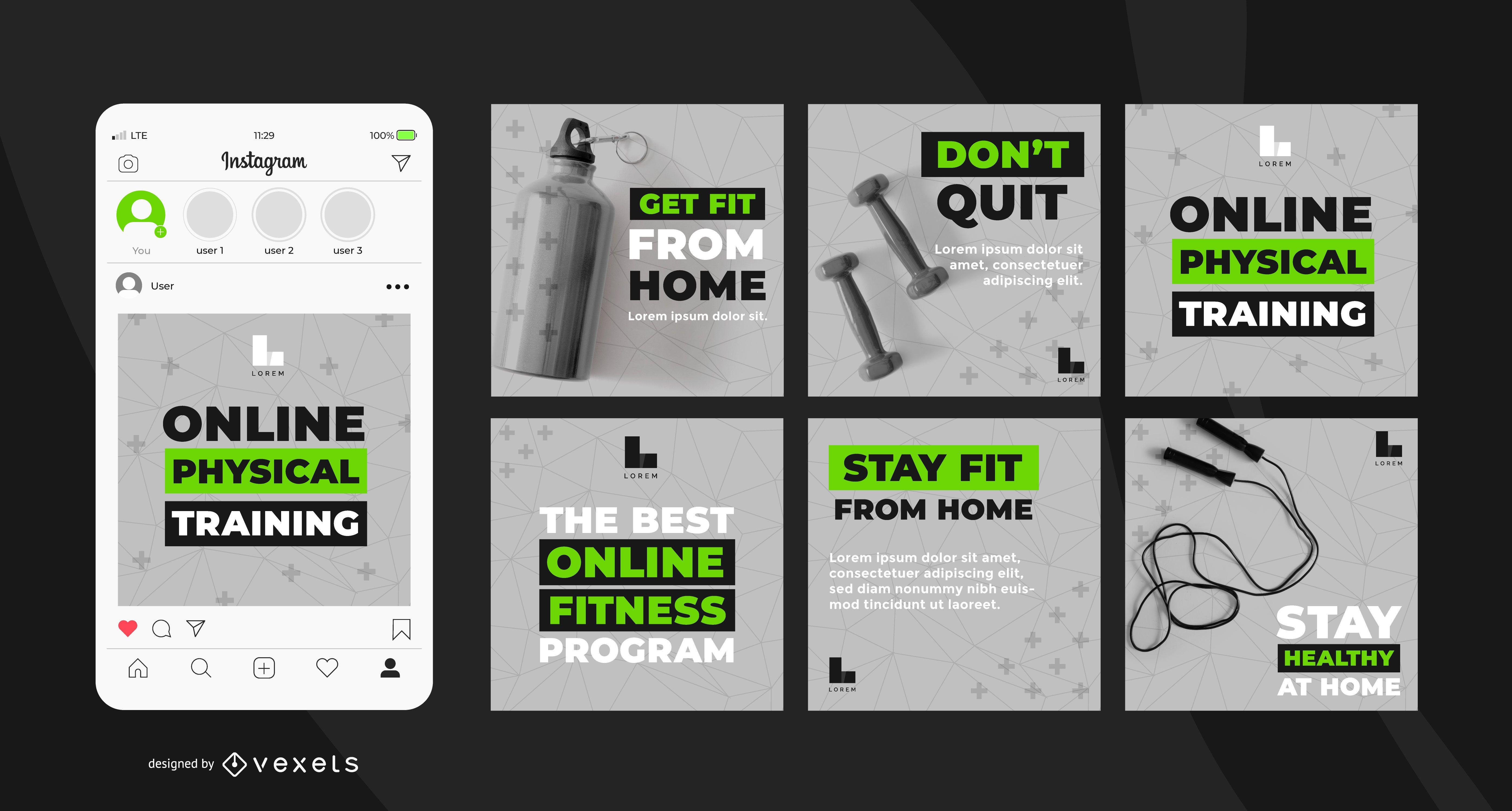 Paquete de banners del programa de entrenamiento en línea