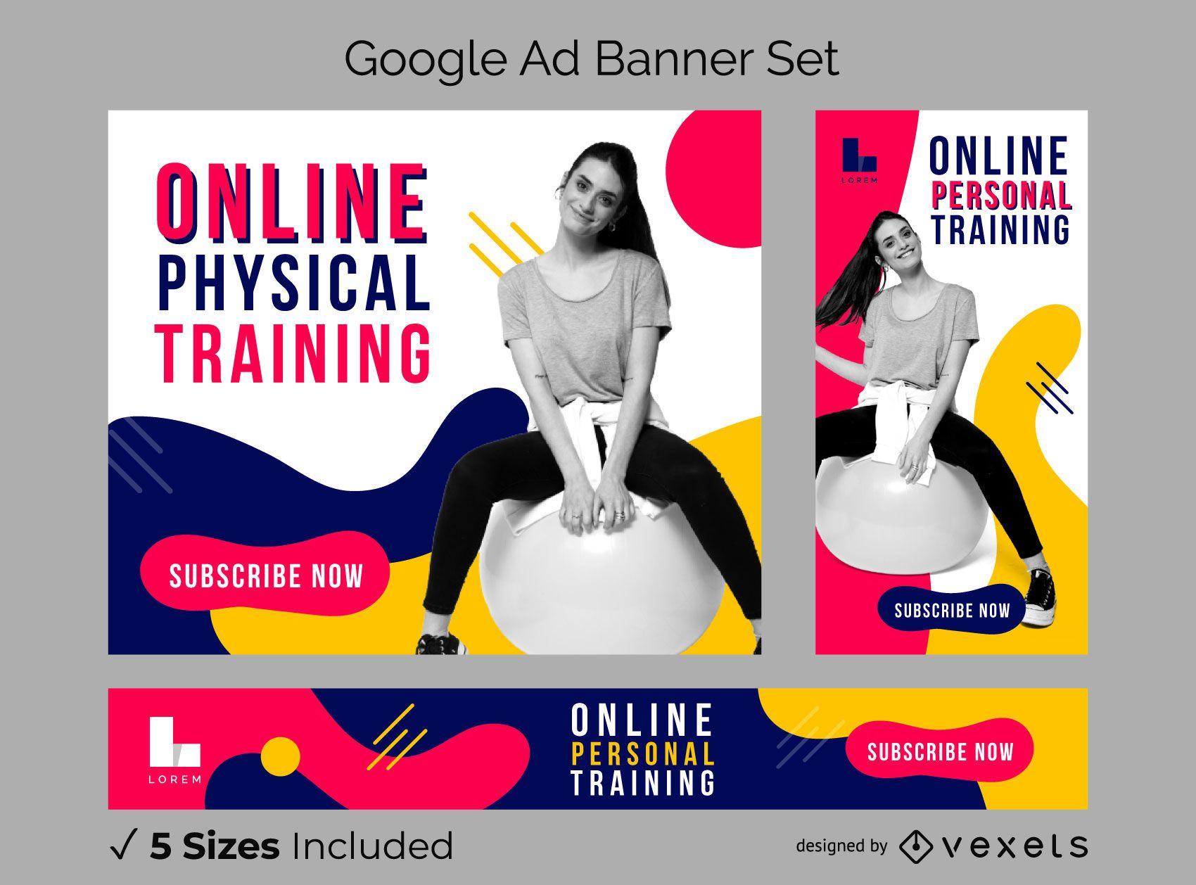 Pacote de banner do Google Ads para exercícios on-line