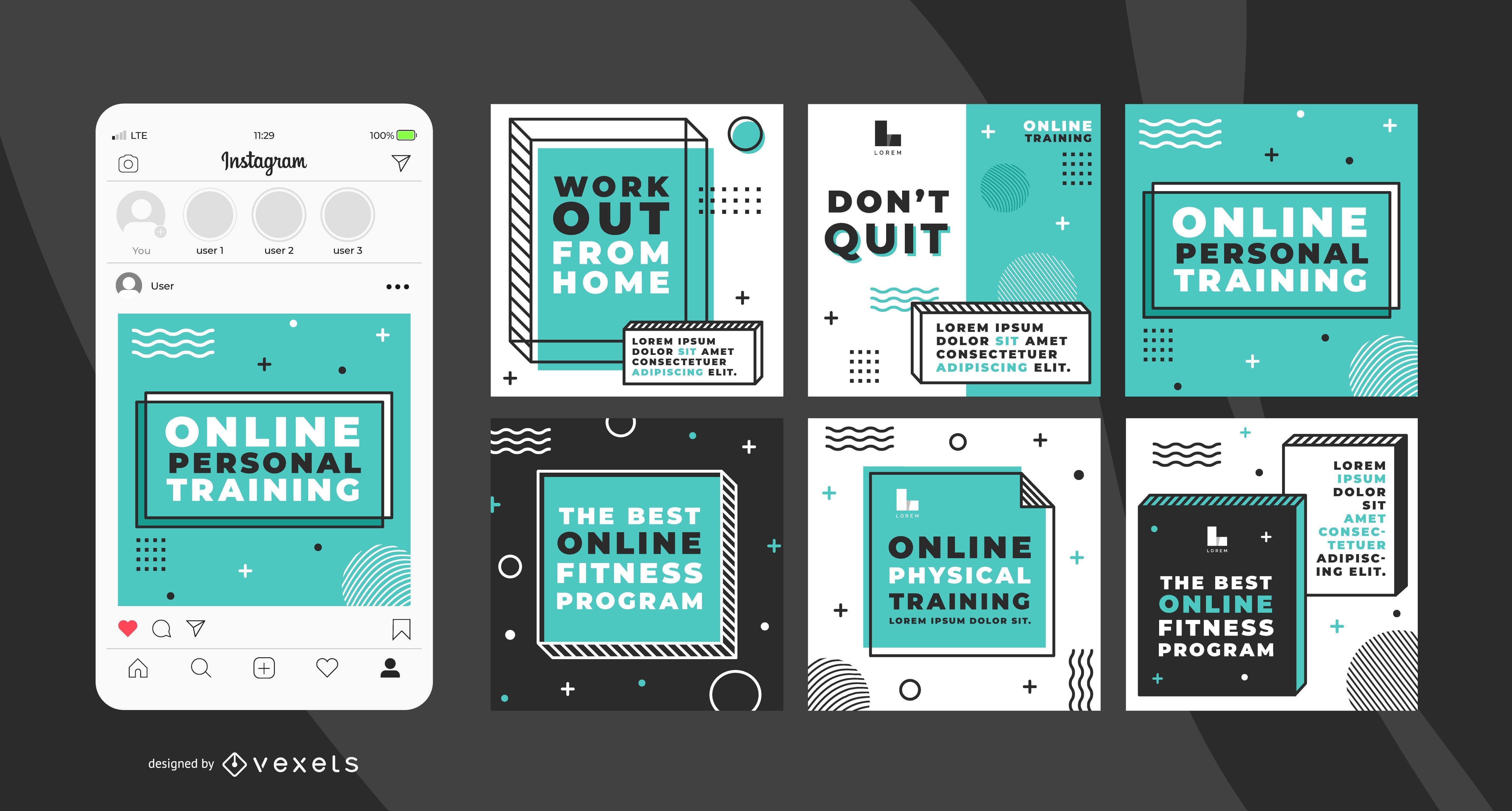 Paquete de banners de entrenador personal en línea