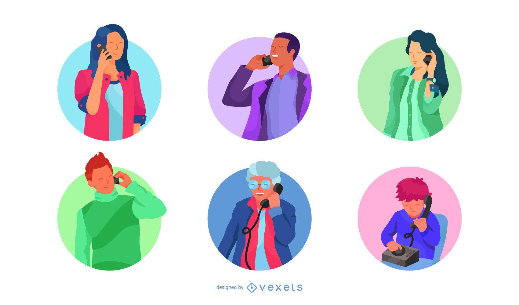 Paquete de diseño de personajes de llamadas telefónicas