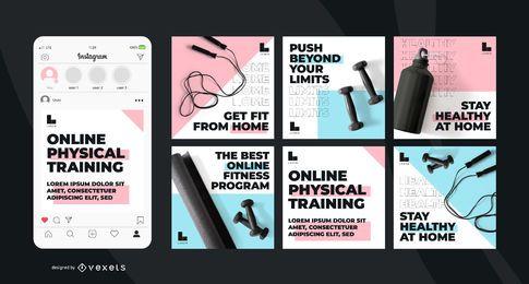 Conjunto de postagens de mídia social de treinamento on-line