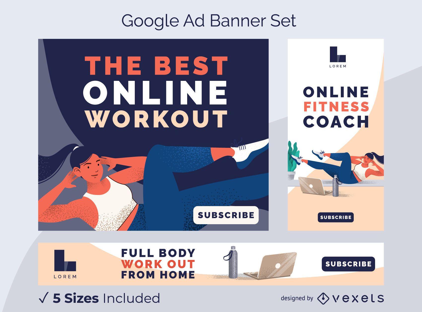 Conjunto de banners de anúncios de treino online
