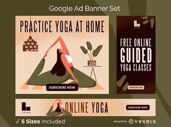 Conjunto de banner de anúncios de ioga on-line