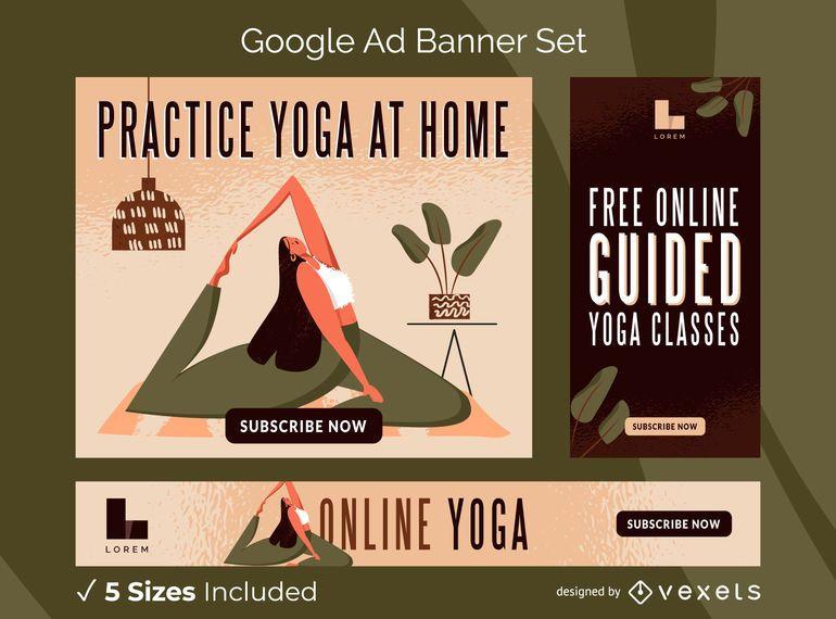 Online yoga ads banner set