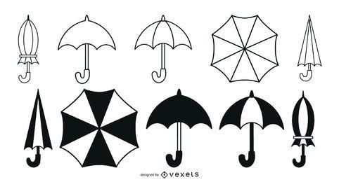 Paquete de trazos de paraguas