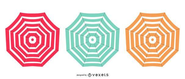 Conjunto de diseño colorido paraguas abierto