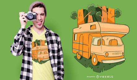 Design de t-shirt da caravana da natureza