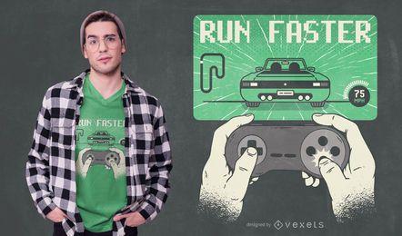 Diseño de camiseta Run Faster Gaming