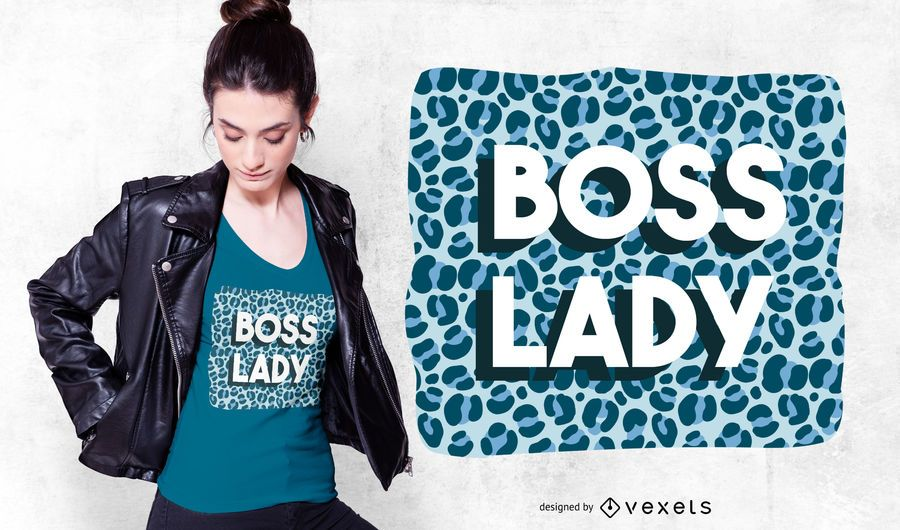 Boss Lady Animal Print T-shirt Design