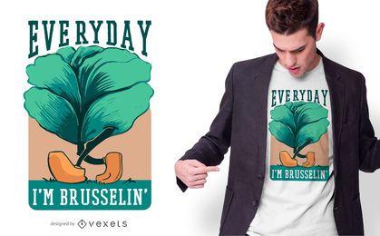 Diseño diario de camiseta de texto de las coles de Bruselas