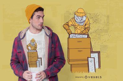 Design de t-shirt de ilustração de apicultor