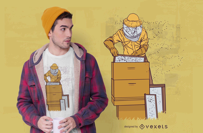Beekeeper Illustration T-shirt Design