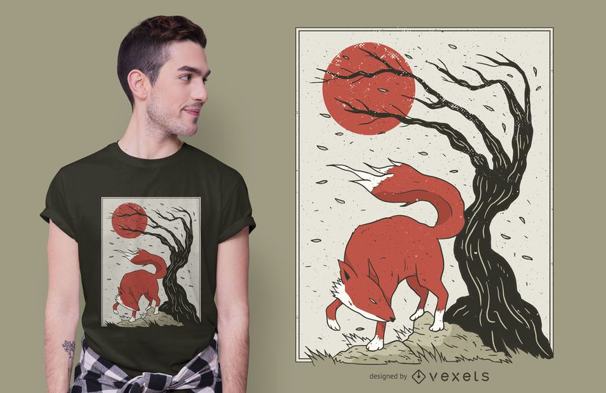 Japanese Style Fox Sun T-shirt Design