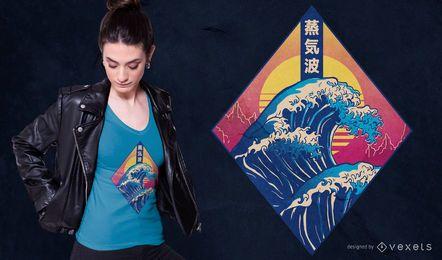 Design de camiseta japonesa da Vaporwave Wave