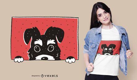 Peeking Schnauzer Dog T-shirt Design