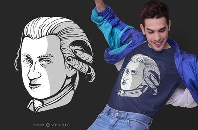 Design de t-shirt de retrato de Mozart