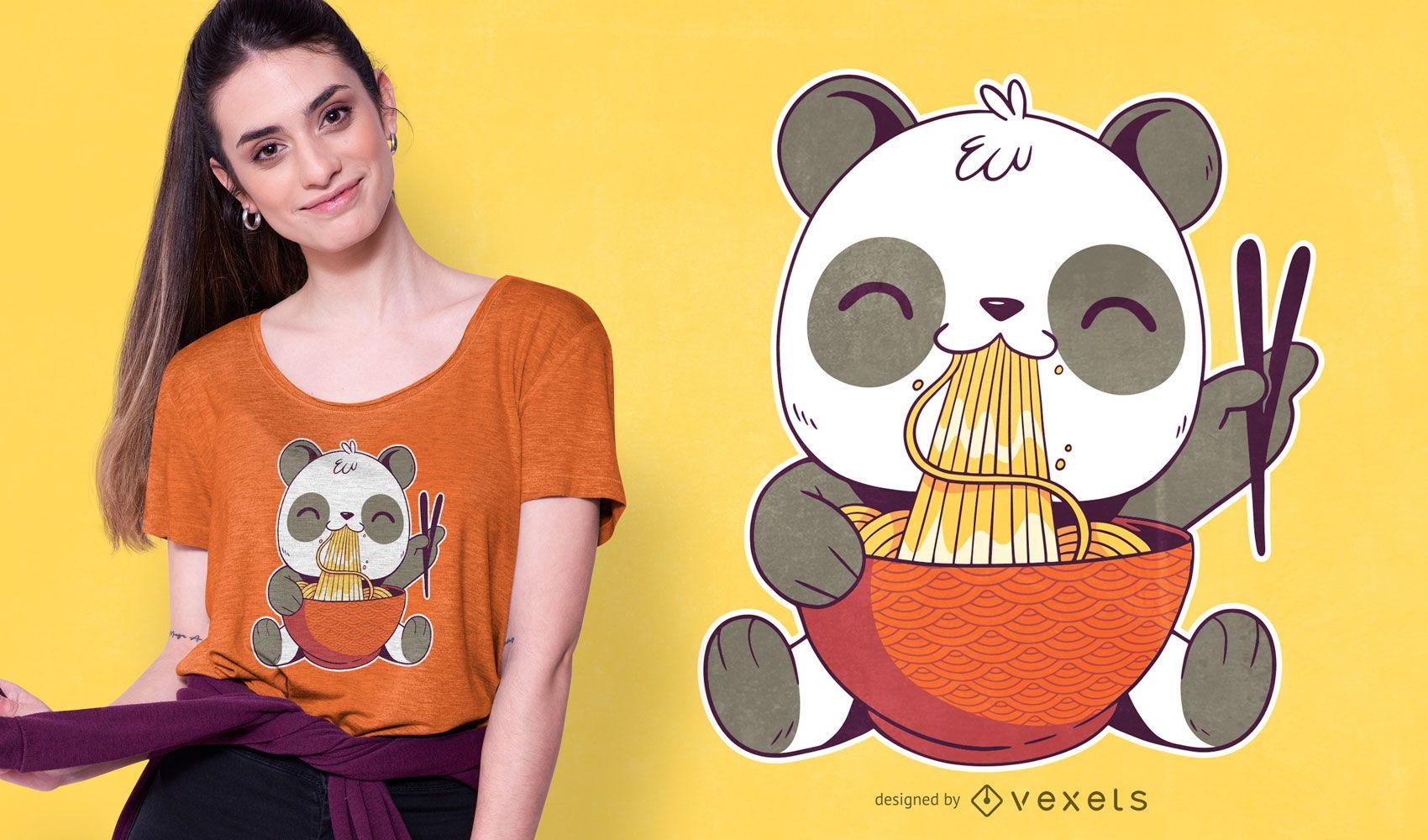 Diseño de camiseta Ramen Panda