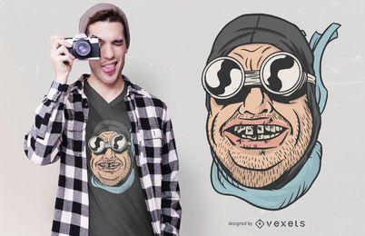 Diseño divertido de la camiseta de los dientes del motorista
