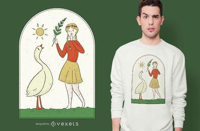 Menina com design de camiseta de ganso