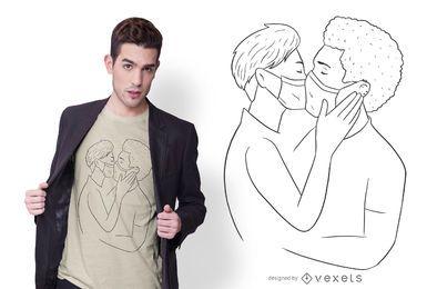 Diseño de camiseta de beso de mascarilla de pareja