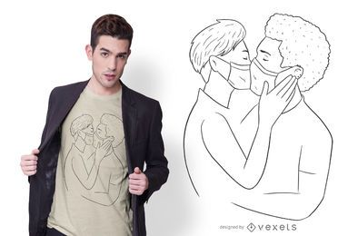 Diseño de camiseta de pareja besándose mascarilla
