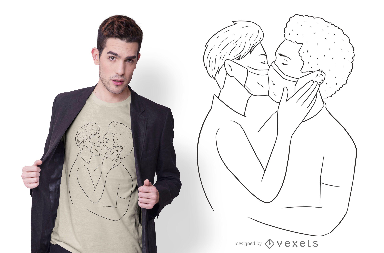 Dise?o de camiseta de pareja bes?ndose mascarilla