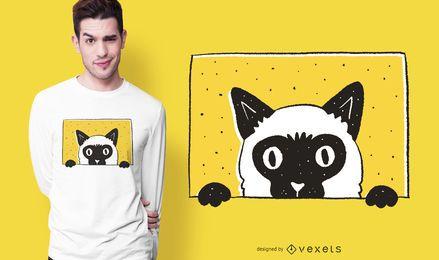 Diseño de camiseta de gato mirando a escondidas