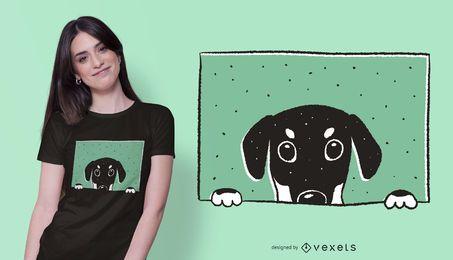 Diseño de camiseta doberman mirando a escondidas