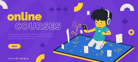 Modelo de slider de crianças de cursos on-line