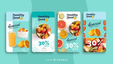 Modelo de história de mídia social de alimentos saudáveis