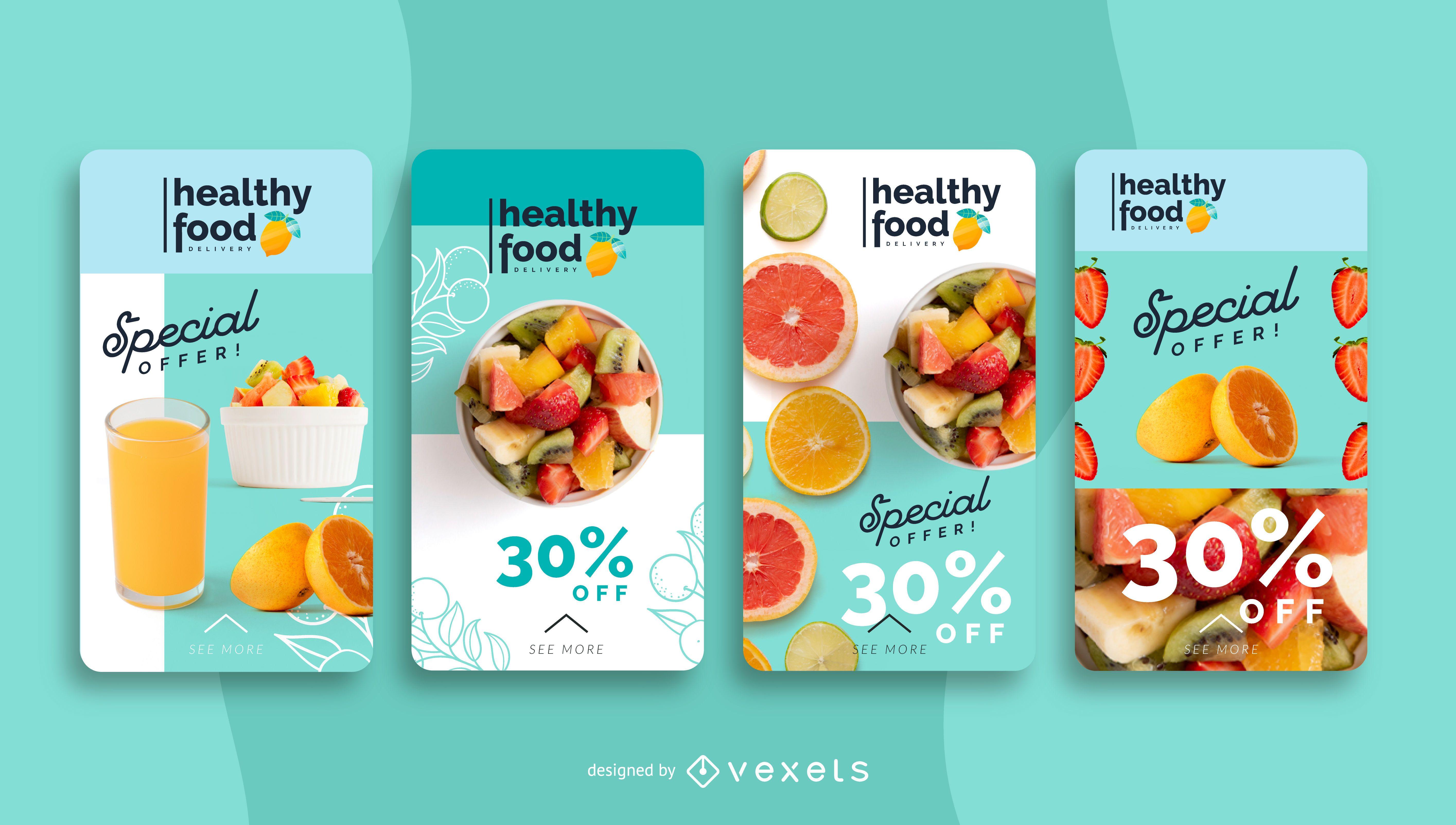 Plantilla de historia de redes sociales de alimentos saludables