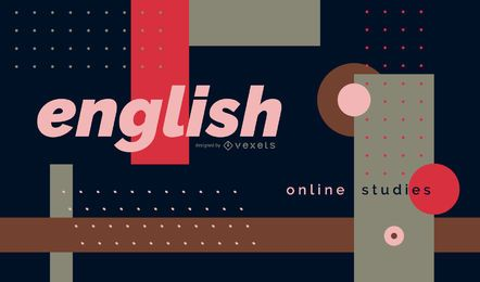 Diseño de portada de aprendizaje en línea de inglés