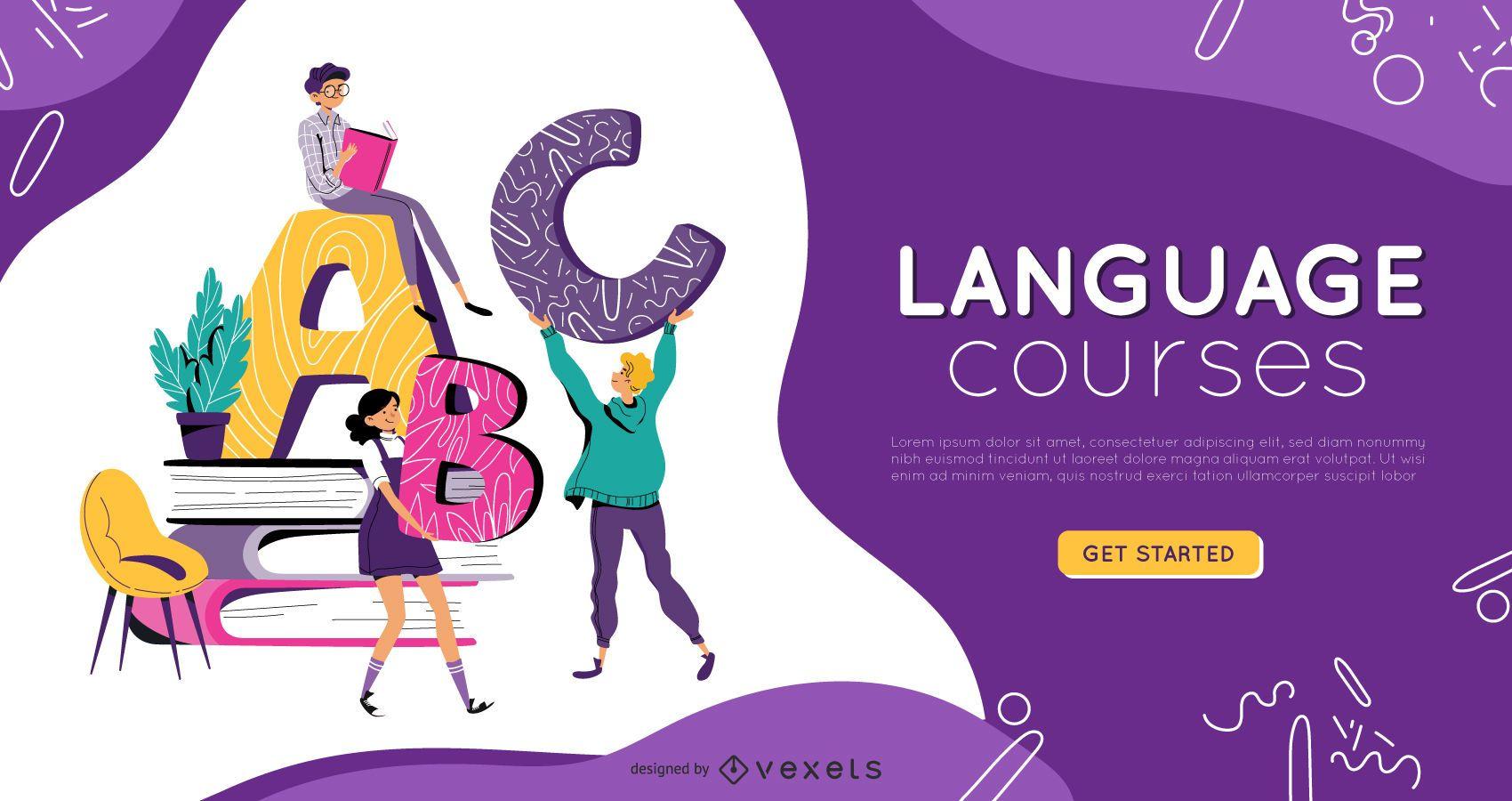 Diseño de portada de educación para cursos de idiomas