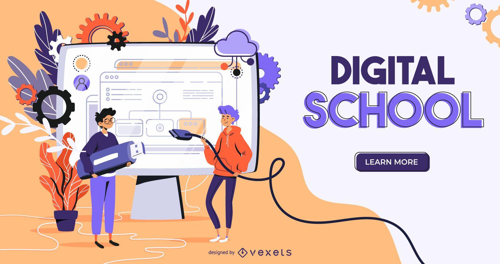Diseño de control deslizante web de escuela digital