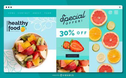 Gesundes Lebensmittel Web Slider Design