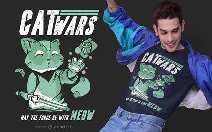 Diseño de camiseta Catwars Parody