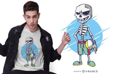 Beach Volley Skeleton T-shirt Design