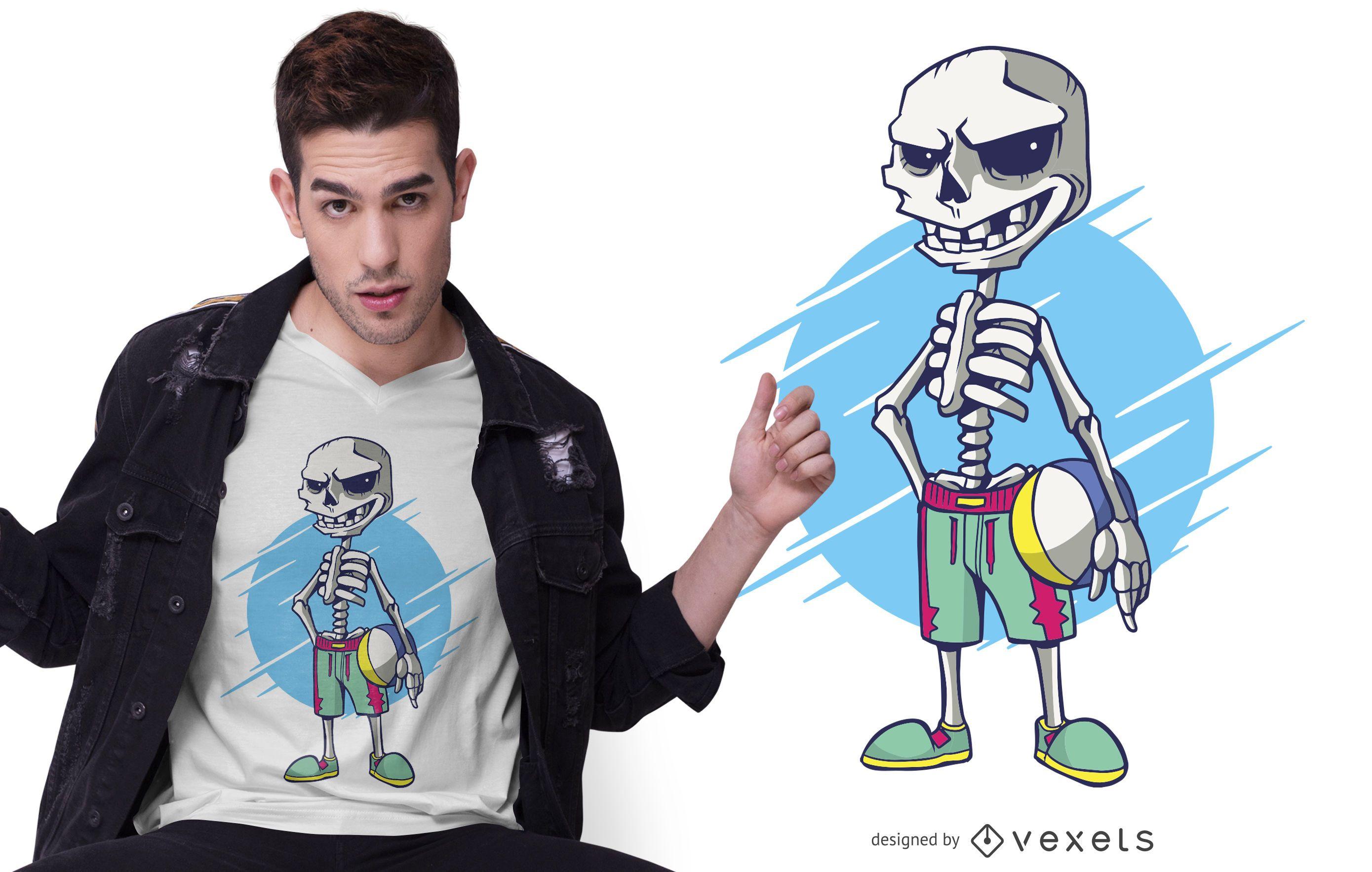 Beach Volley Skeleton T-shirt Design