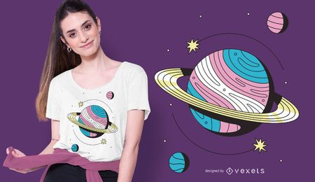 Projeto do t-shirt do planeta de Transgender