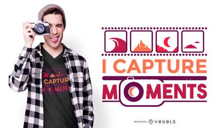 Capture momentos de design de camiseta